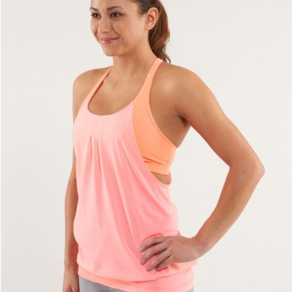 Lululemon Pink Practice Freely Tank with Bra